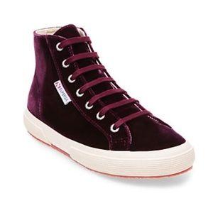 Superga Velvet Hightop Sneakers-Burgundy-Size 9